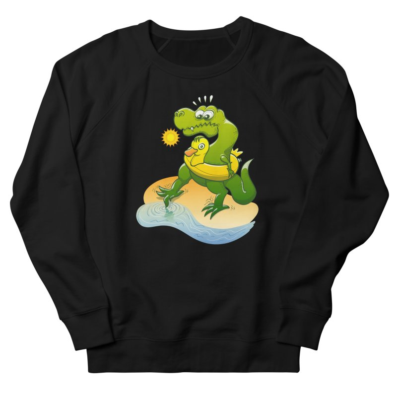 Tyrannosaurus Rex dipping a toe in cold water in a sunny summer day Men's Sweatshirt by Zoo&co's Artist Shop