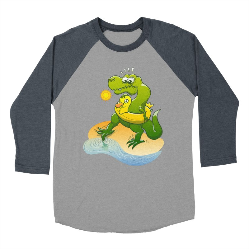 Tyrannosaurus Rex dipping a toe in cold water in a sunny summer day Men's Baseball Triblend T-Shirt by Zoo&co's Artist Shop