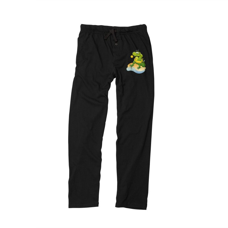 Tyrannosaurus Rex dipping a toe in cold water in a sunny summer day Women's Lounge Pants by Zoo&co's Artist Shop