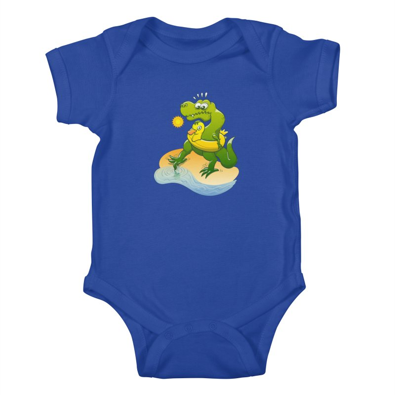 Tyrannosaurus Rex dipping a toe in cold water in a sunny summer day Kids Baby Bodysuit by Zoo&co's Artist Shop