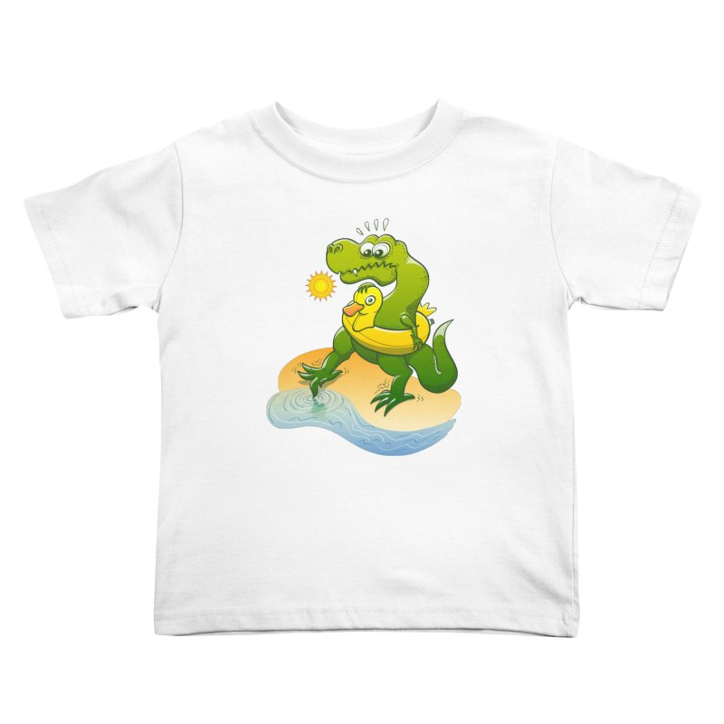 Tyrannosaurus Rex dipping a toe in cold water in a sunny summer day Kids Toddler T-Shirt by Zoo&co's Artist Shop
