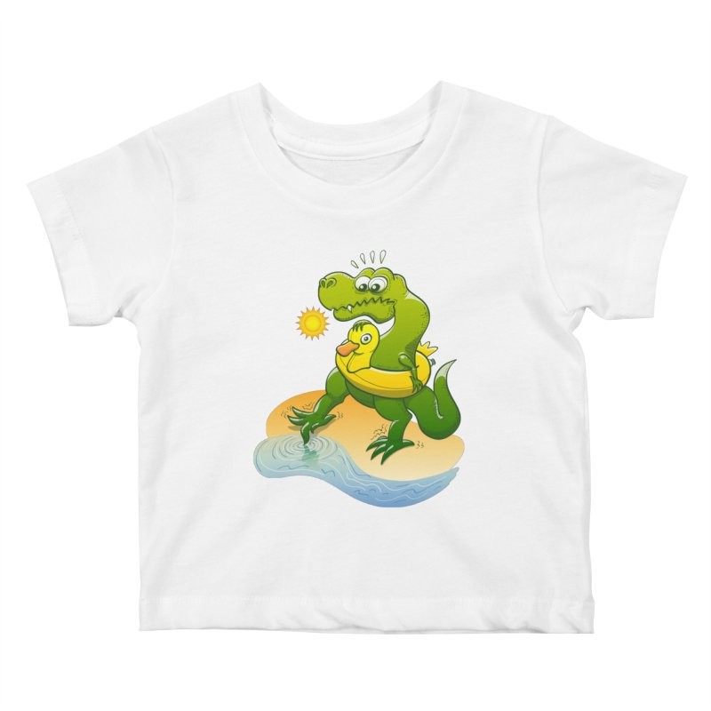 Tyrannosaurus Rex dipping a toe in cold water in a sunny summer day Kids Baby T-Shirt by Zoo&co's Artist Shop