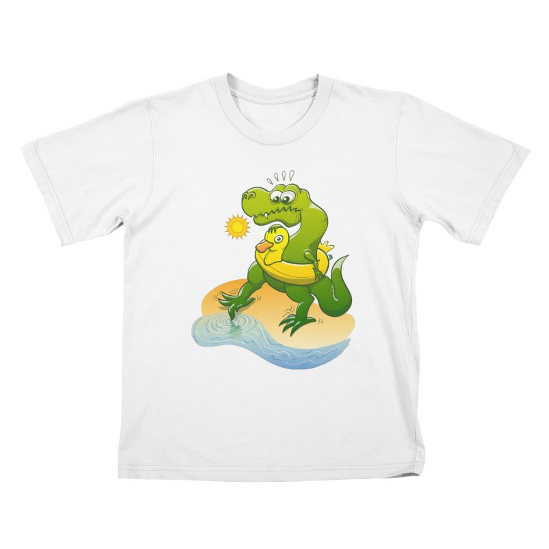 Tyrannosaurus Rex dipping a toe in cold water in a sunny summer day Kids T-Shirt by Zoo&co's Artist Shop