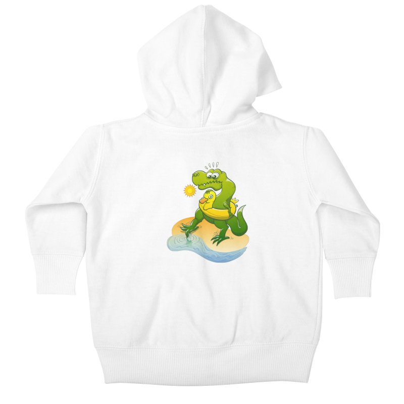 Tyrannosaurus Rex dipping a toe in cold water in a sunny summer day Kids Baby Zip-Up Hoody by Zoo&co's Artist Shop
