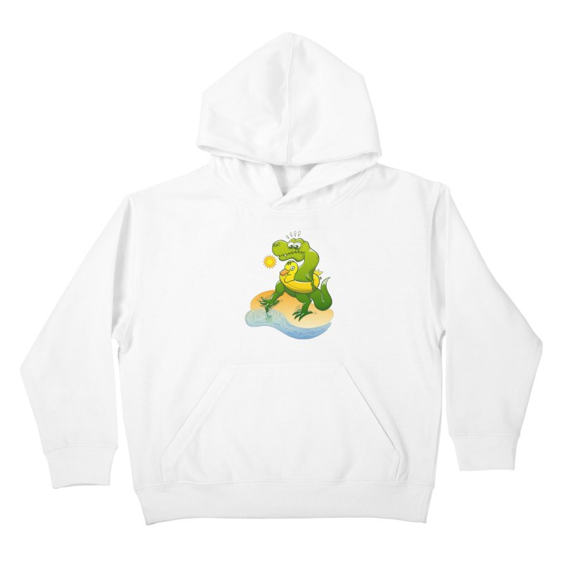 Tyrannosaurus Rex dipping a toe in cold water in a sunny summer day Kids Pullover Hoody by Zoo&co's Artist Shop