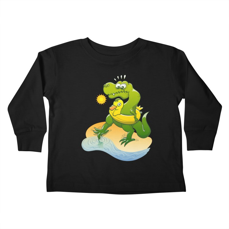 Tyrannosaurus Rex dipping a toe in cold water in a sunny summer day Kids Toddler Longsleeve T-Shirt by Zoo&co's Artist Shop