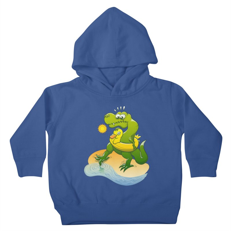 Tyrannosaurus Rex dipping a toe in cold water in a sunny summer day Kids Toddler Pullover Hoody by Zoo&co's Artist Shop