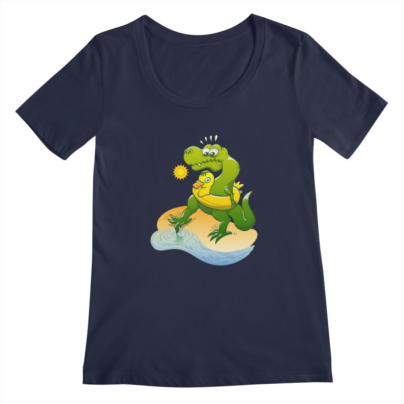 Tyrannosaurus Rex dipping a toe in cold water in a sunny summer day Women's Scoopneck by Zoo&co's Artist Shop