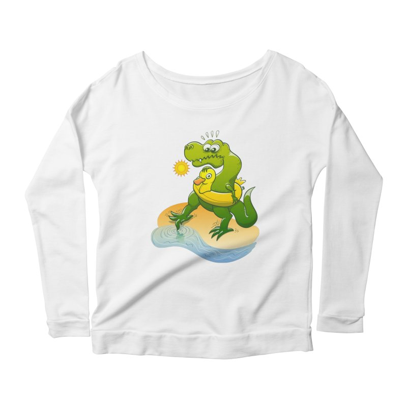 Tyrannosaurus Rex dipping a toe in cold water in a sunny summer day Women's Longsleeve Scoopneck  by Zoo&co's Artist Shop