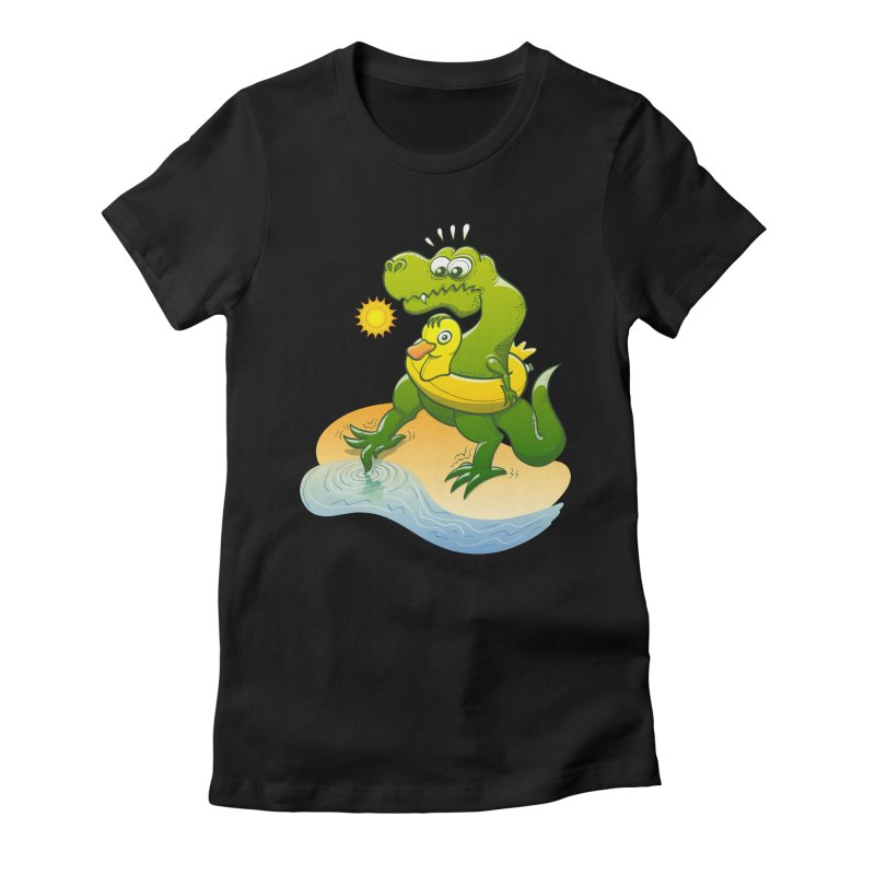 Tyrannosaurus Rex dipping a toe in cold water in a sunny summer day Women's Fitted T-Shirt by Zoo&co's Artist Shop