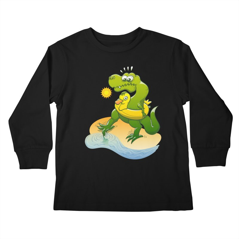 Tyrannosaurus Rex dipping a toe in cold water in a sunny summer day Kids Longsleeve T-Shirt by Zoo&co's Artist Shop