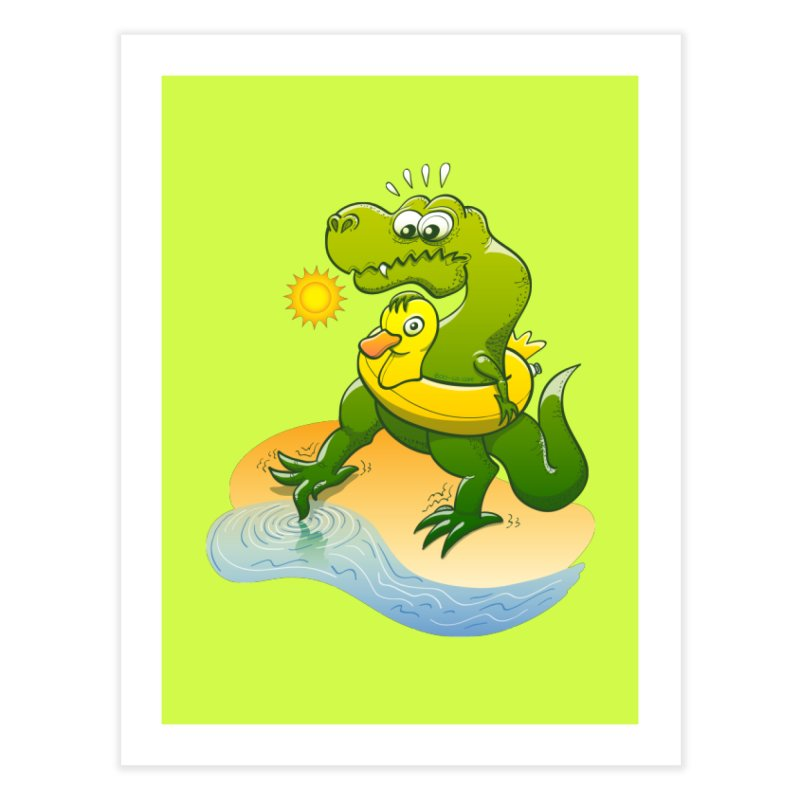 Tyrannosaurus Rex dipping a toe in cold water in a sunny summer day Home Fine Art Print by Zoo&co's Artist Shop