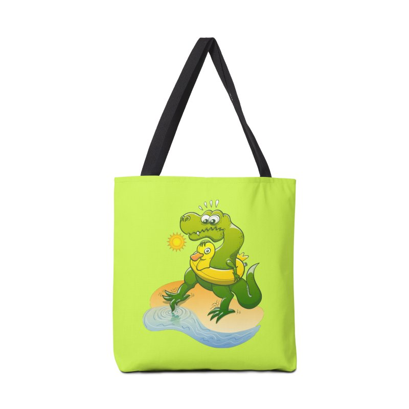 Tyrannosaurus Rex dipping a toe in cold water in a sunny summer day Accessories Bag by Zoo&co's Artist Shop