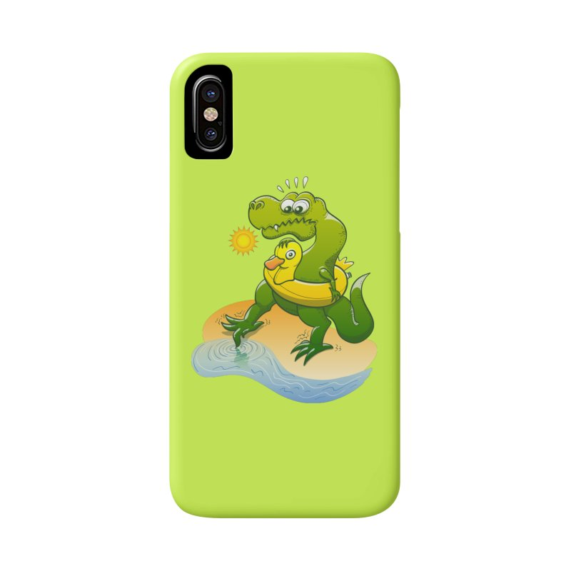 Tyrannosaurus Rex dipping a toe in cold water in a sunny summer day Accessories Phone Case by Zoo&co's Artist Shop