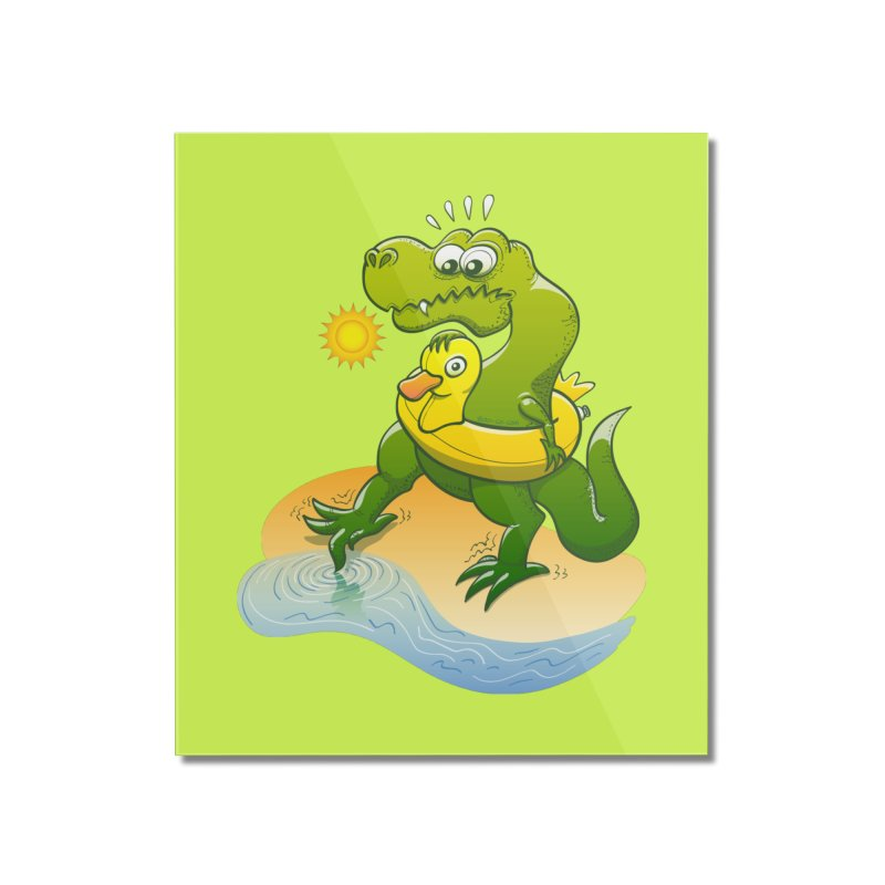 Tyrannosaurus Rex dipping a toe in cold water in a sunny summer day Home Mounted Acrylic Print by Zoo&co's Artist Shop