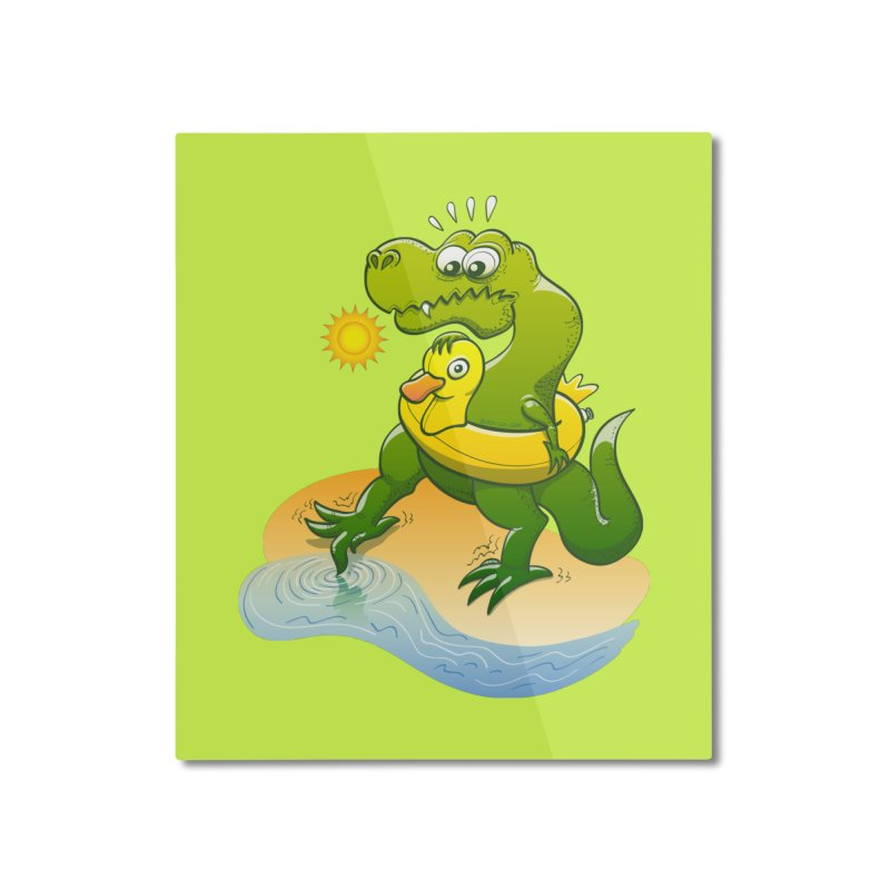 Tyrannosaurus Rex dipping a toe in cold water in a sunny summer day Home Mounted Aluminum Print by Zoo&co's Artist Shop