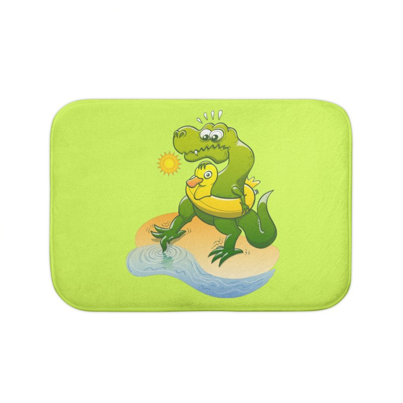 Tyrannosaurus Rex dipping a toe in cold water in a sunny summer day Home Bath Mat by Zoo&co's Artist Shop