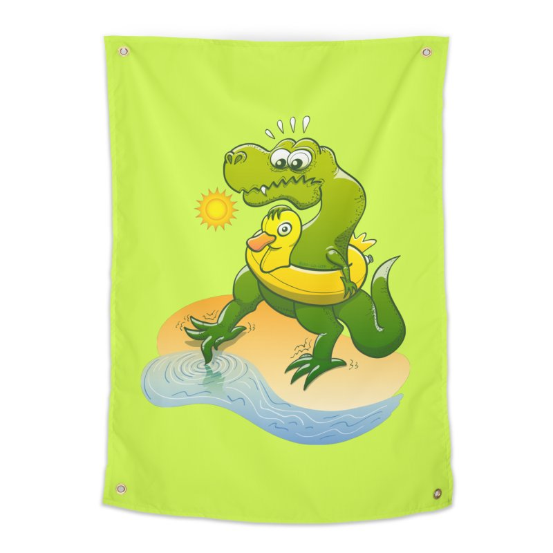 Tyrannosaurus Rex dipping a toe in cold water in a sunny summer day Home Tapestry by Zoo&co's Artist Shop