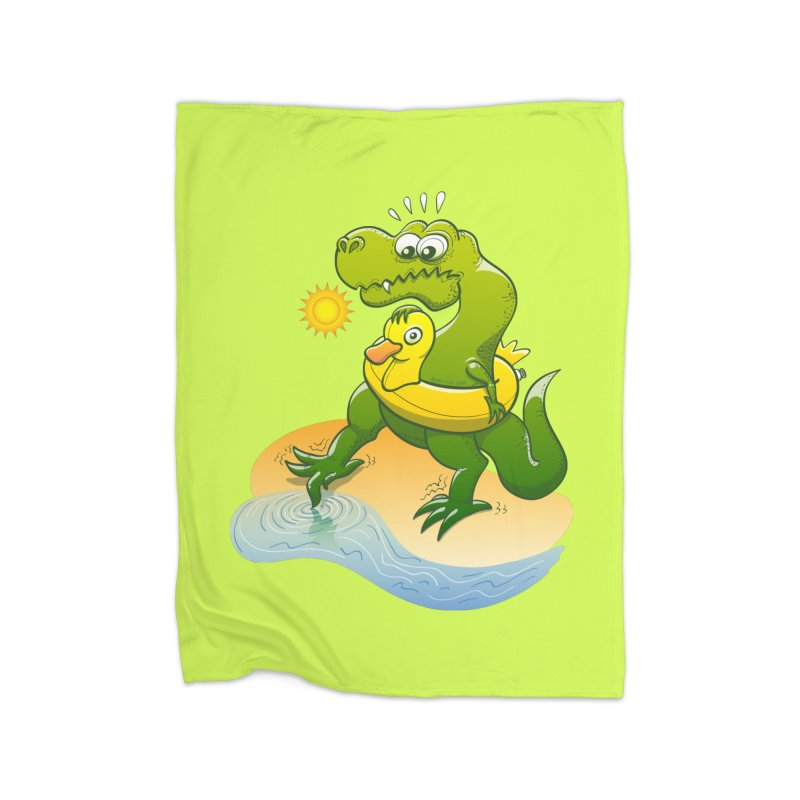 Tyrannosaurus Rex dipping a toe in cold water in a sunny summer day Home Blanket by Zoo&co's Artist Shop
