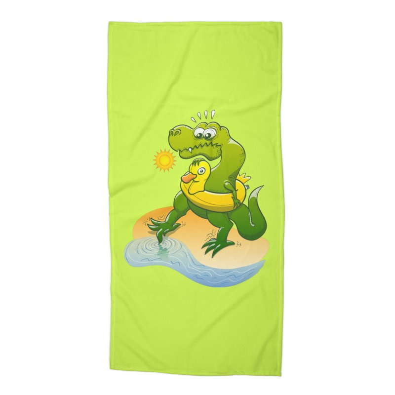 Tyrannosaurus Rex dipping a toe in cold water in a sunny summer day Accessories Beach Towel by Zoo&co's Artist Shop