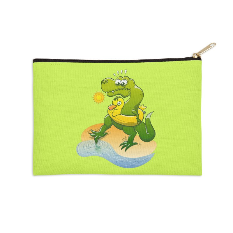Tyrannosaurus Rex dipping a toe in cold water in a sunny summer day Accessories Zip Pouch by Zoo&co's Artist Shop