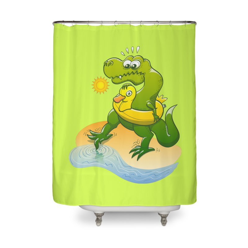 Tyrannosaurus Rex dipping a toe in cold water in a sunny summer day Home Shower Curtain by Zoo&co's Artist Shop