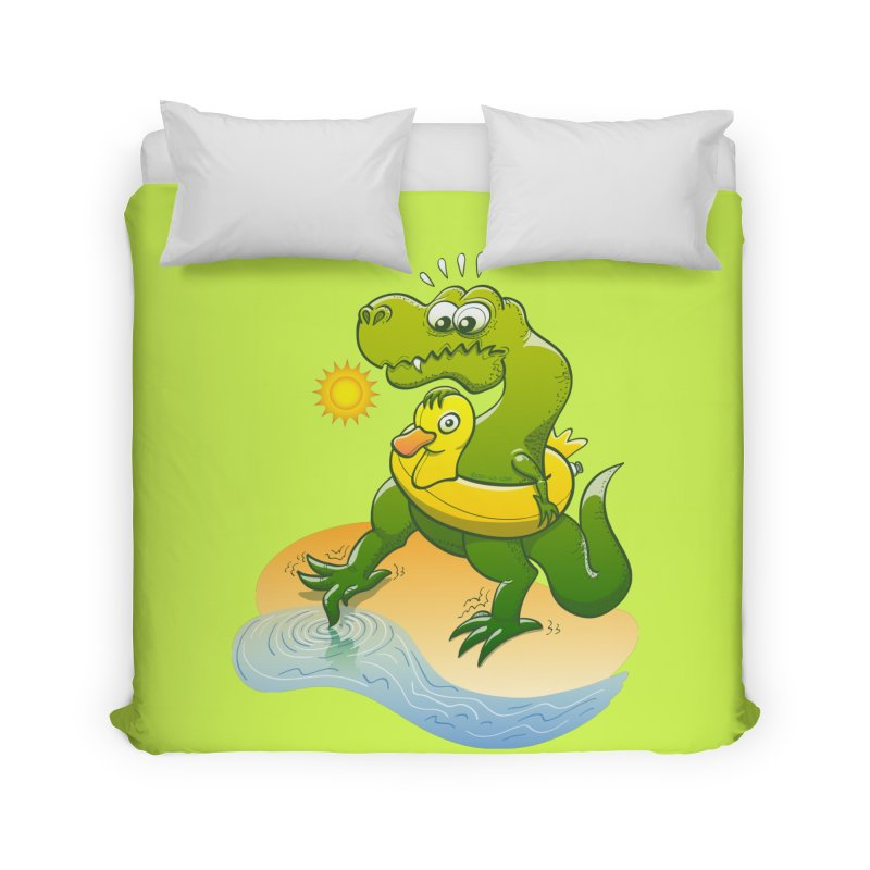 Tyrannosaurus Rex dipping a toe in cold water in a sunny summer day Home Duvet by Zoo&co's Artist Shop