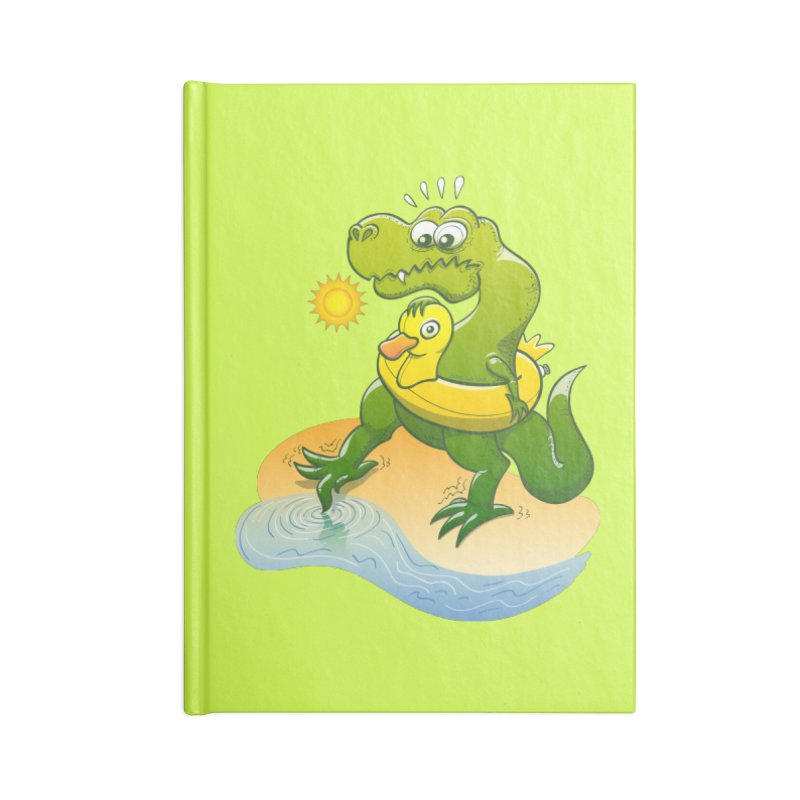 Tyrannosaurus Rex dipping a toe in cold water in a sunny summer day Accessories Notebook by Zoo&co's Artist Shop