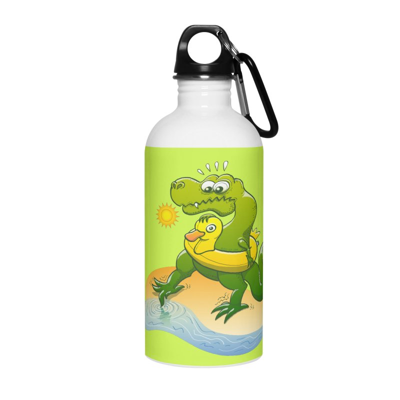 Tyrannosaurus Rex dipping a toe in cold water in a sunny summer day Accessories Water Bottle by Zoo&co's Artist Shop