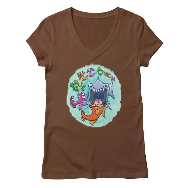 Big fish eat little fish and vice versa Women's V-Neck by Zoo&co's Artist Shop