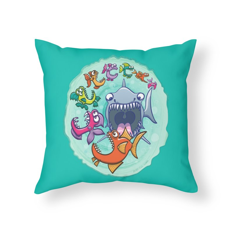 Big fish eat little fish and vice versa Home Throw Pillow by Zoo&co's Artist Shop