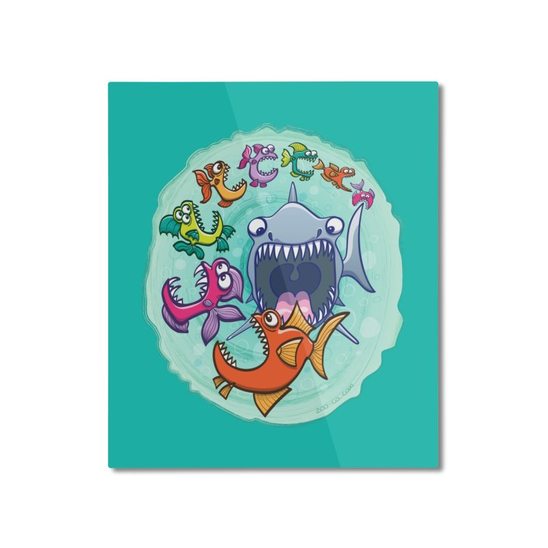 Big fish eat little fish and vice versa Home Mounted Aluminum Print by Zoo&co's Artist Shop