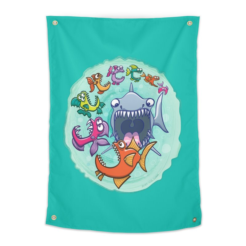 Big fish eat little fish and vice versa Home Tapestry by Zoo&co's Artist Shop