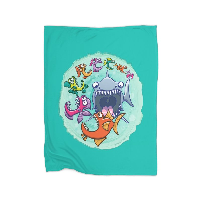 Big fish eat little fish and vice versa Home Blanket by Zoo&co's Artist Shop