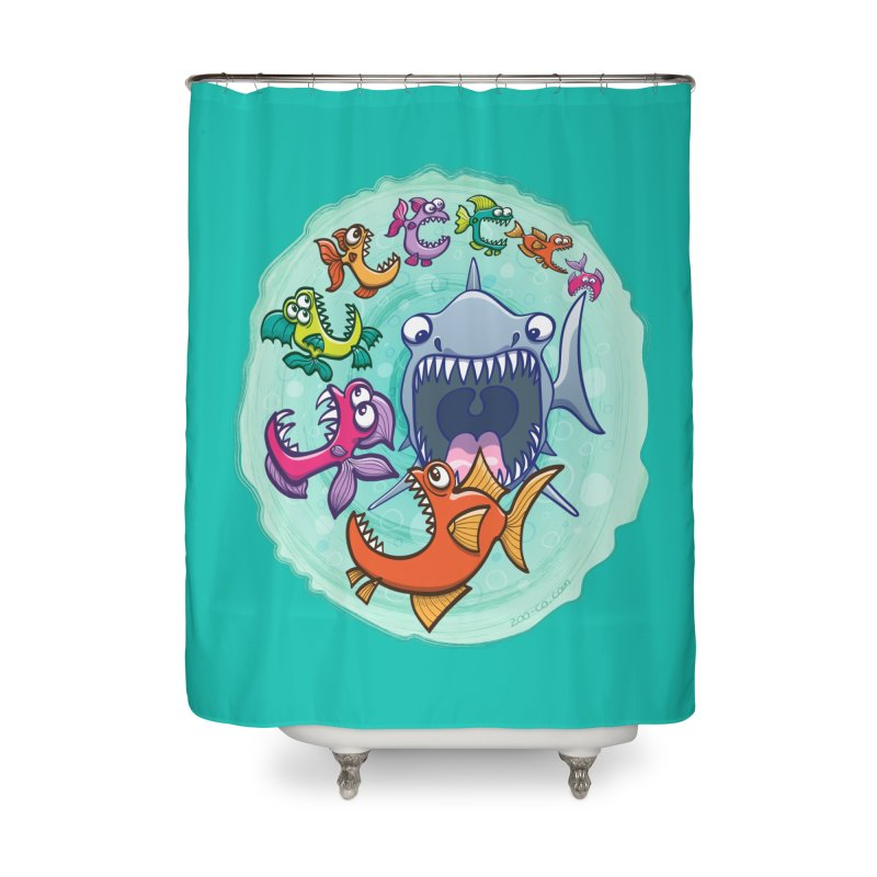 Big fish eat little fish and vice versa Home Shower Curtain by Zoo&co's Artist Shop