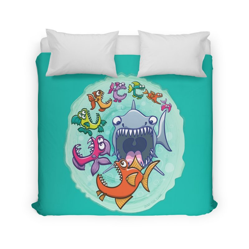 Big fish eat little fish and vice versa Home Duvet by Zoo&co's Artist Shop