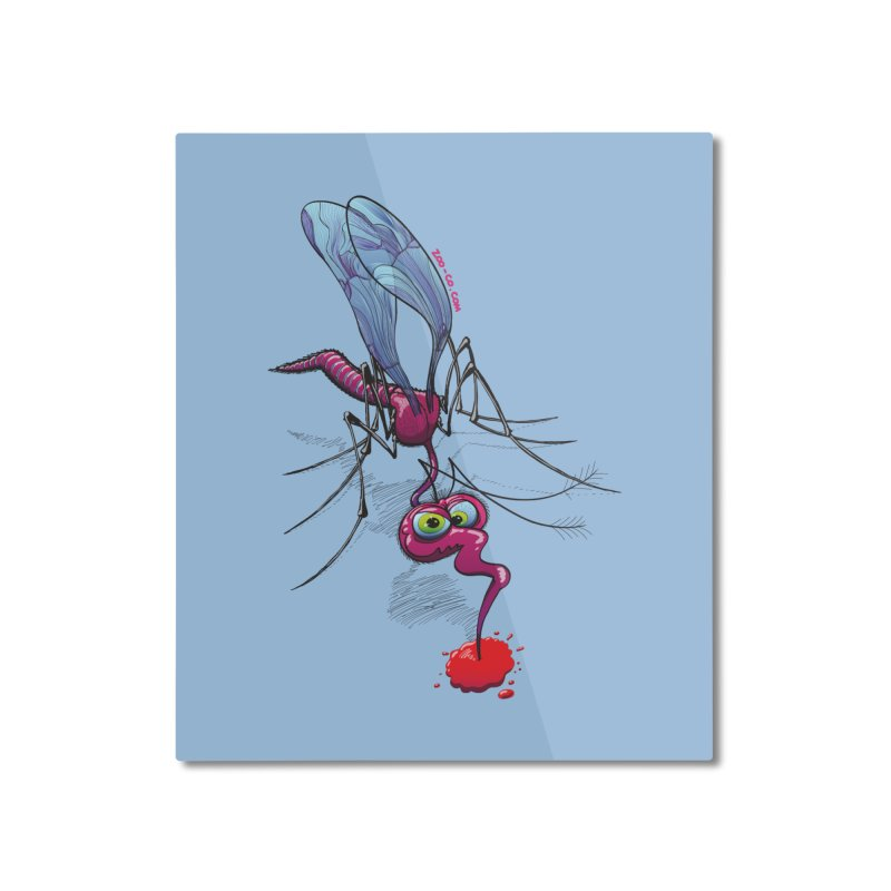 Terrific mosquito sucking blood Home Mounted Aluminum Print by Zoo&co's Artist Shop