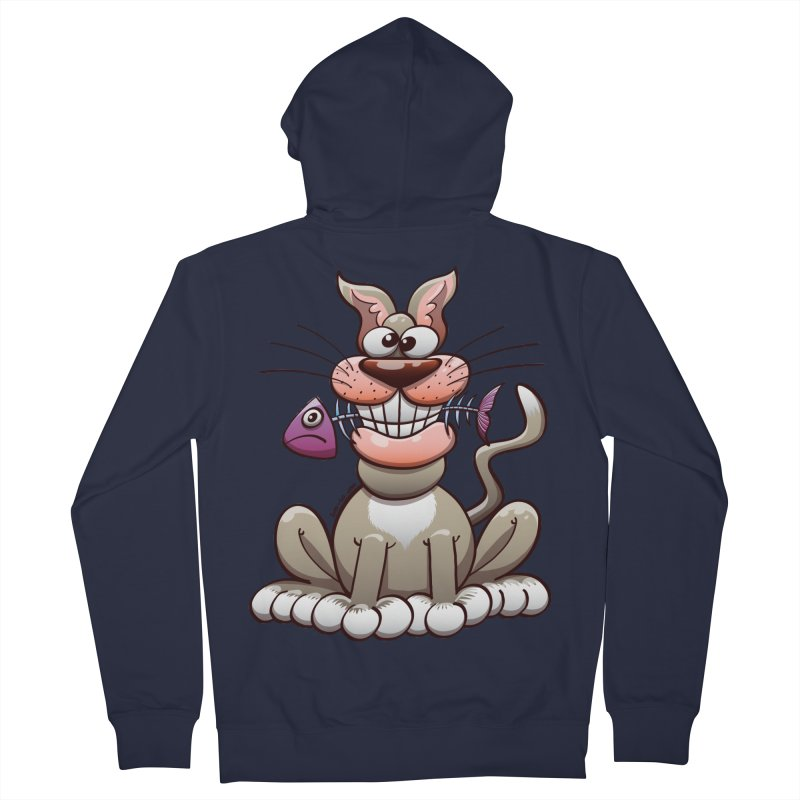 Mischievous cat proudly posing with a fish in his mouth Men's Zip-Up Hoody by Zoo&co's Artist Shop