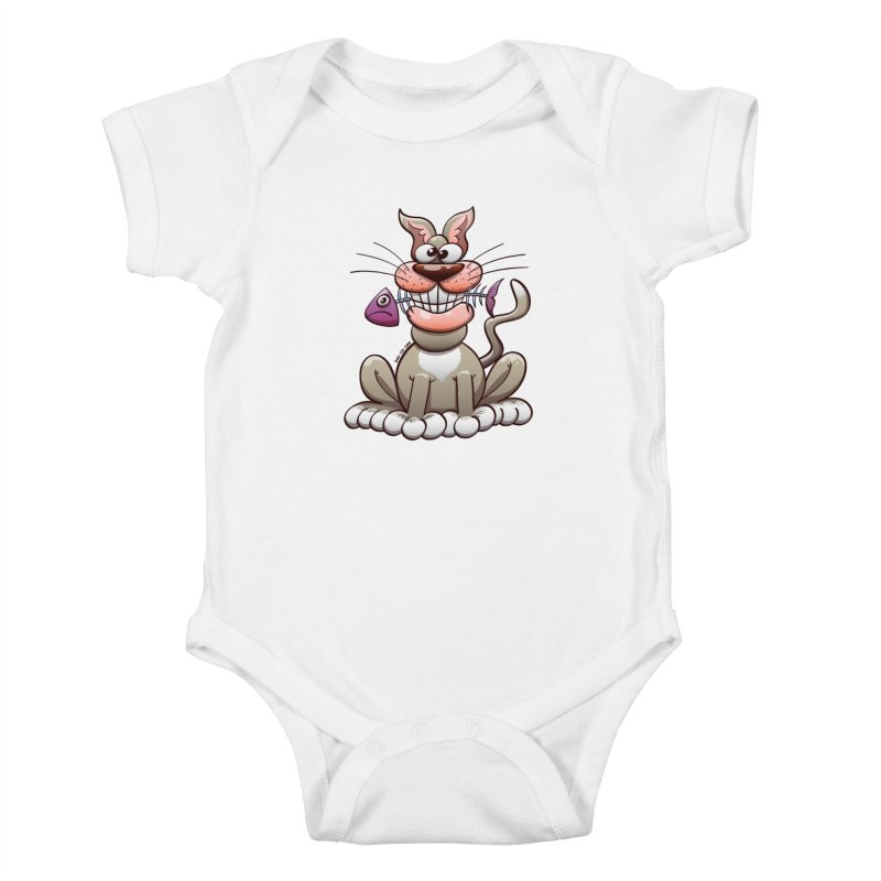 Mischievous cat proudly posing with a fish in his mouth Kids Baby Bodysuit by Zoo&co's Artist Shop
