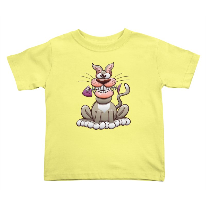 Mischievous cat proudly posing with a fish in his mouth Kids Toddler T-Shirt by Zoo&co's Artist Shop