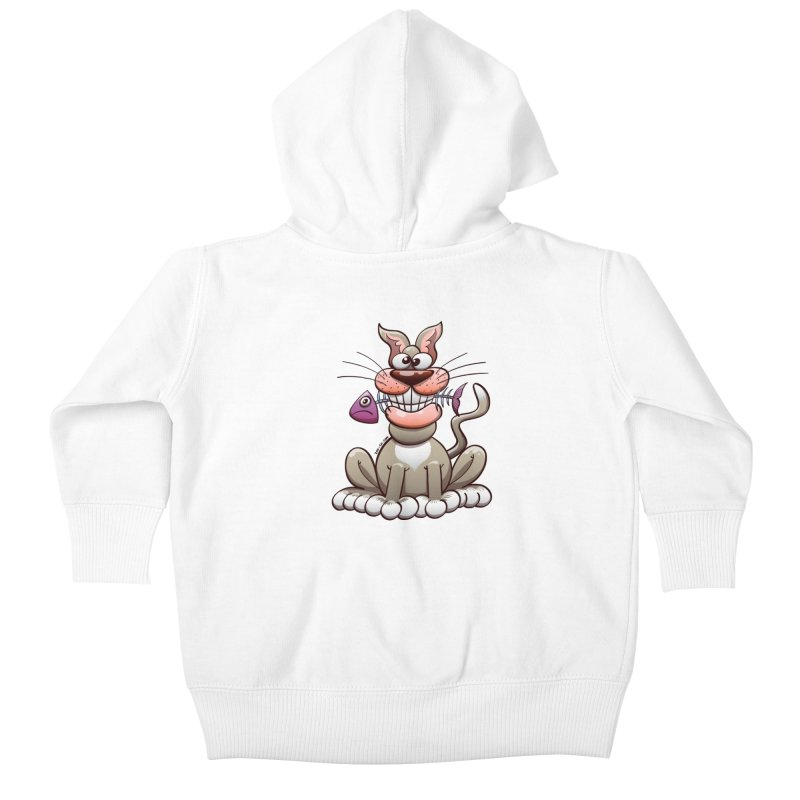 Mischievous cat proudly posing with a fish in his mouth Kids Baby Zip-Up Hoody by Zoo&co's Artist Shop