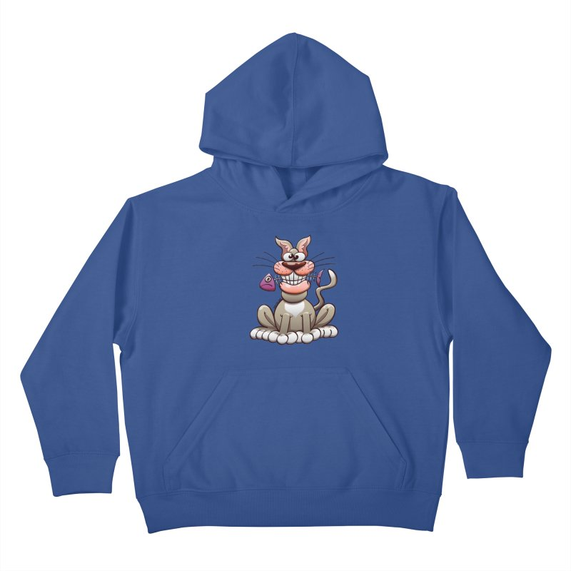 Mischievous cat proudly posing with a fish in his mouth Kids Pullover Hoody by Zoo&co's Artist Shop