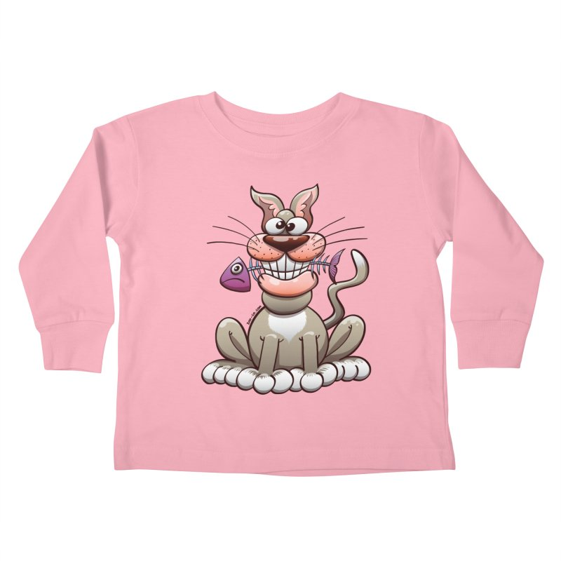 Mischievous cat proudly posing with a fish in his mouth Kids Toddler Longsleeve T-Shirt by Zoo&co's Artist Shop