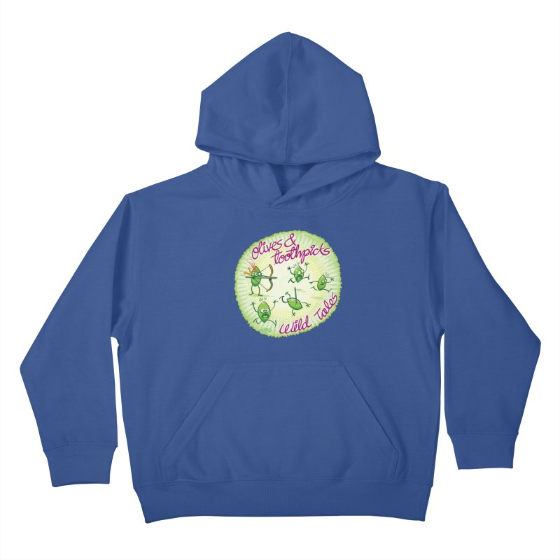 Olives and toothpicks wild tales Kids Pullover Hoody by Zoo&co's Artist Shop