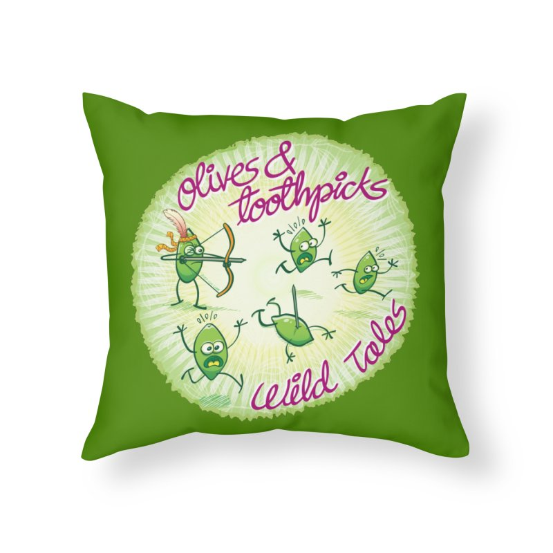 Olives and toothpicks wild tales Home Throw Pillow by Zoo&co's Artist Shop