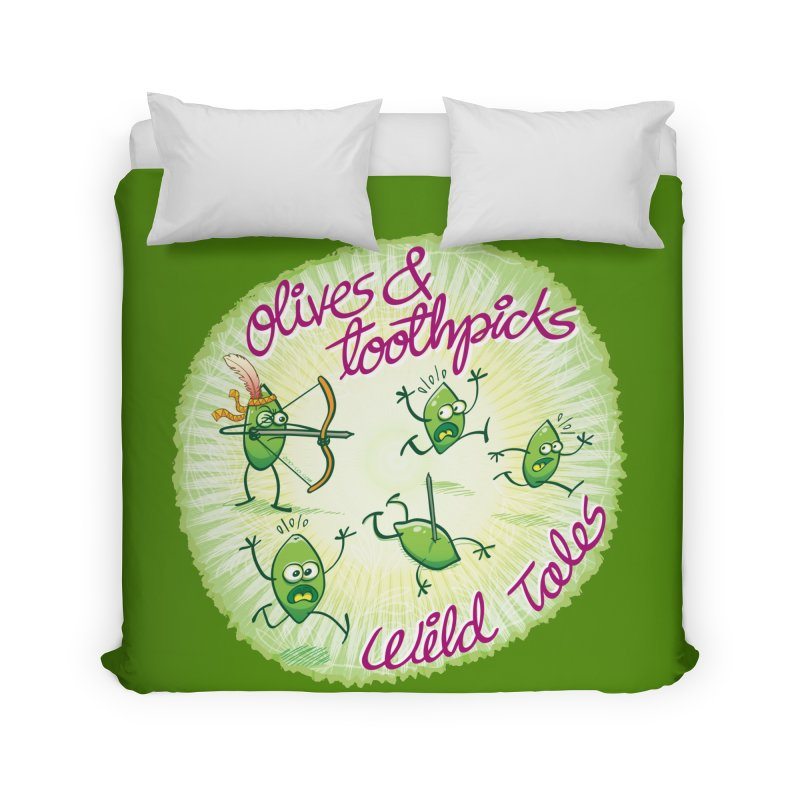 Olives and toothpicks wild tales Home Duvet by Zoo&co's Artist Shop