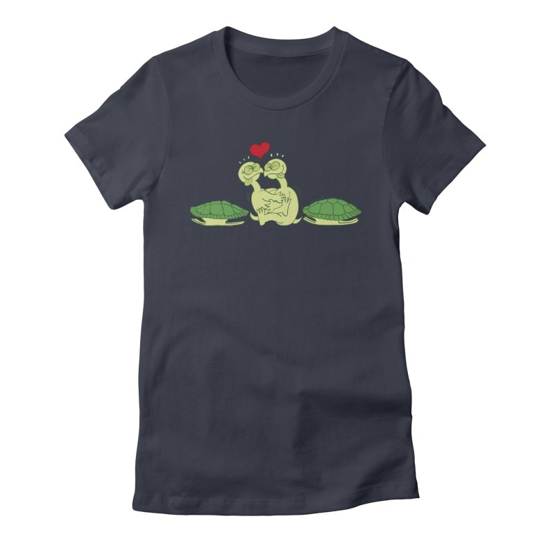 Funny naked turtles passionately making love Women's Fitted T-Shirt by Zoo&co's Artist Shop