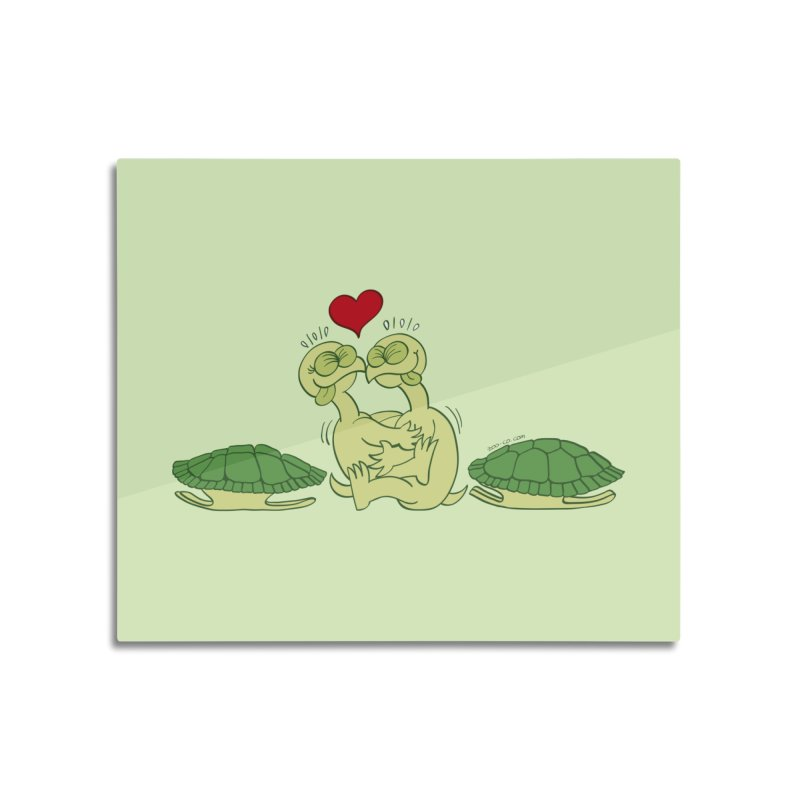 Funny naked turtles passionately making love Home Mounted Aluminum Print by Zoo&co's Artist Shop