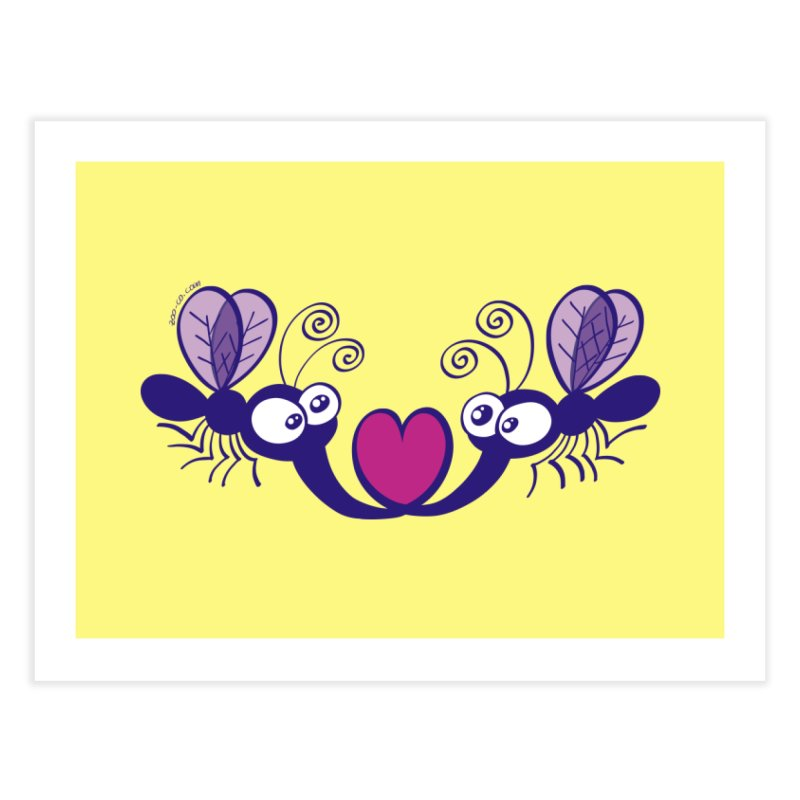 Funny mosquitoes irremediably falling in love Home Fine Art Print by Zoo&co's Artist Shop