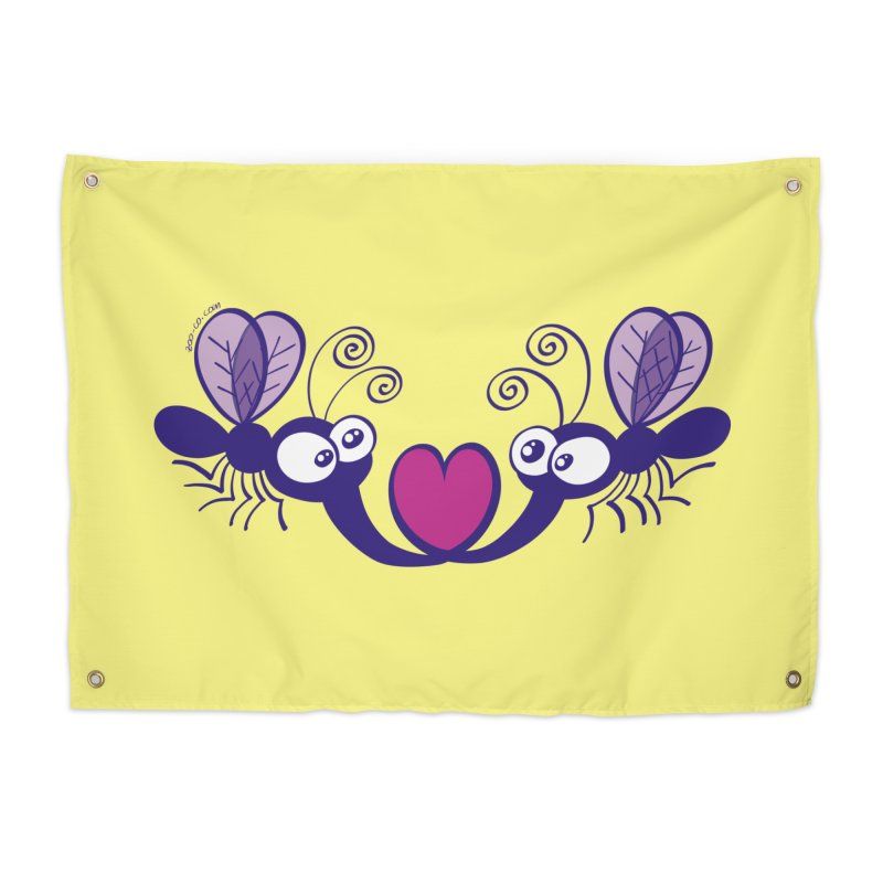 Funny mosquitoes irremediably falling in love Home Tapestry by Zoo&co's Artist Shop